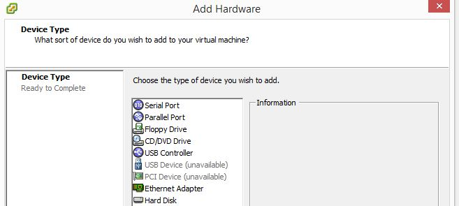 add virtual serial port vmware