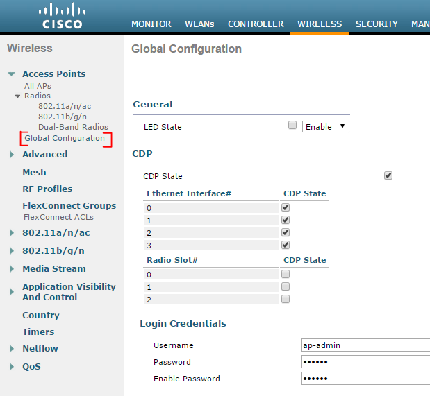 cisco access point default password controller credentials
