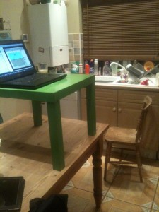 my home made standing desk ikea coffee table