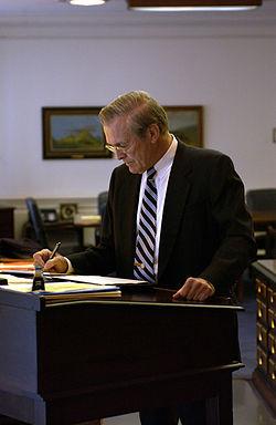 donald rumsfeld standing desk