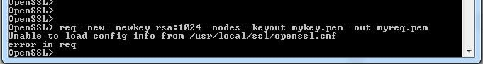 unable to load config info from user local openssl