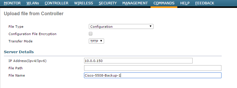 backup cisco wlc gui