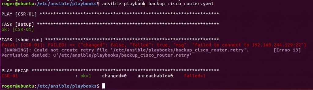 ansible playbook failed to connect