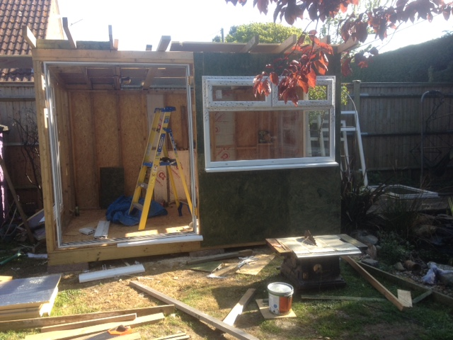 build garden office cheap front finished no doors