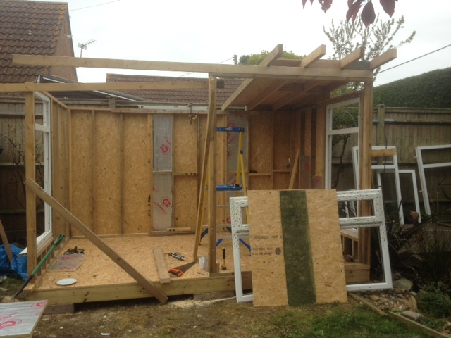 build your own garden office back walls finished