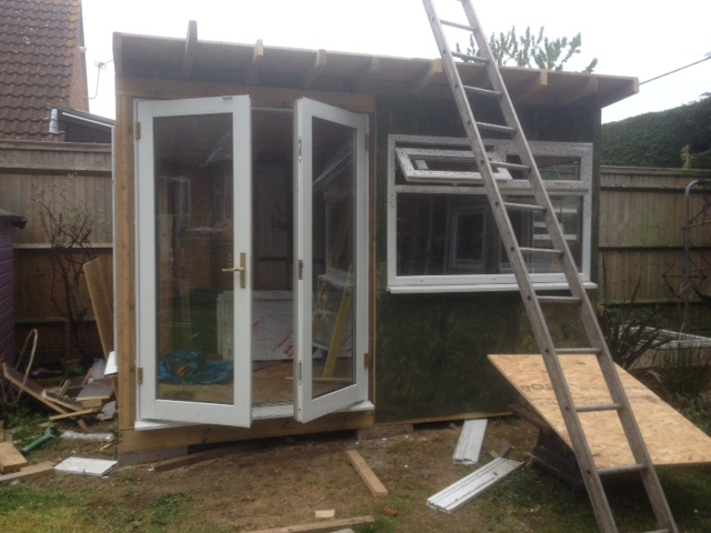 garden studio build double glazed french doors