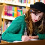 study tips - revise in the library girl
