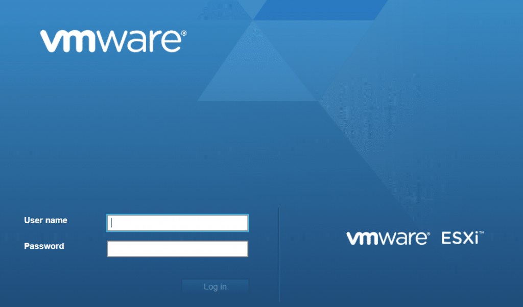 vmwre esxi 6.5 login screen