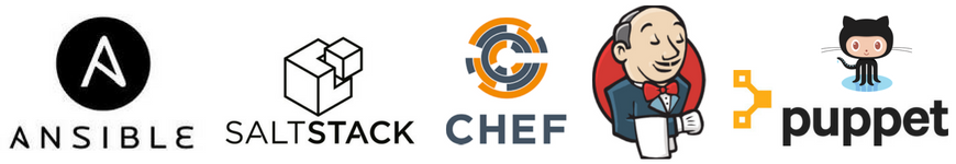network automation tools ansiible saltstack chef jenkins puppet github logos
