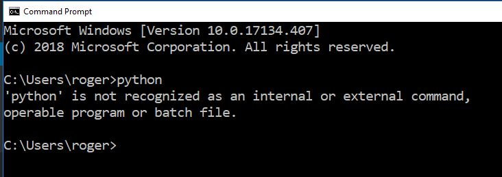 python not installed on windows