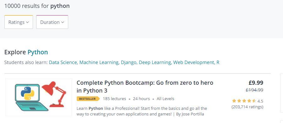 complete python bootcamp udemy