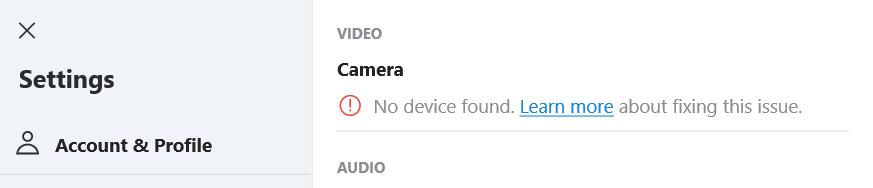 skype camera no device found