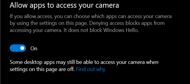 windows 10 allow apps to access your camera