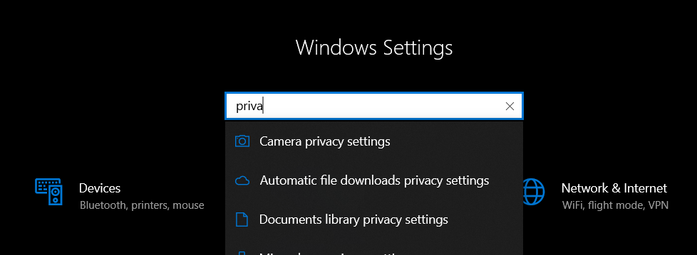 windows 10 camera privacy settings