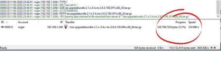 ise upgrade progress filezilla